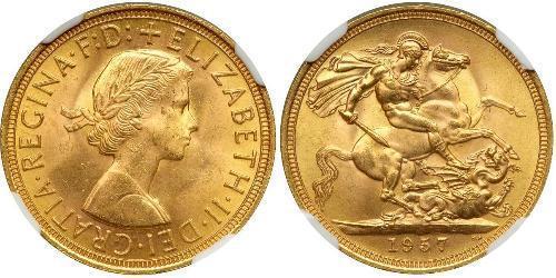 1 Sovereign Regno Unito (1922-) Oro Elisabetta II (1926-)