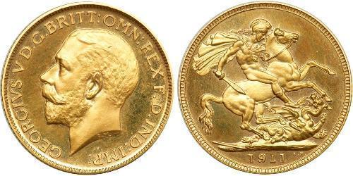 1 Sovereign Regno Unito  Oro Giorgio V (1865-1936)