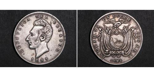 1 Sucre Ecuador Silver Antonio José de Sucre (1795 - 1830)