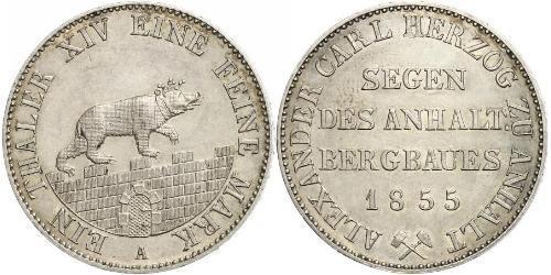 1 Thaler Anhalt-Bernburg (1603 - 1863) 銀 Alexander Karl, Duke of Anhalt-Bernburg (1805 – 1863)