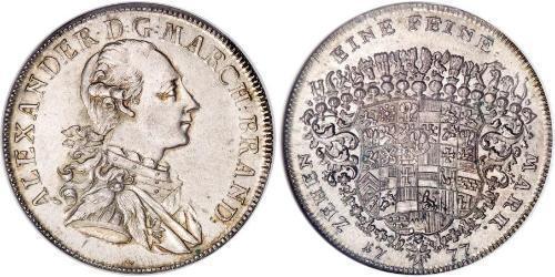 1 Thaler Principality of Ansbach (1398–1792) 銀 Charles Alexander, Margrave of Brandenburg-Ansbach (1736 – 1806)