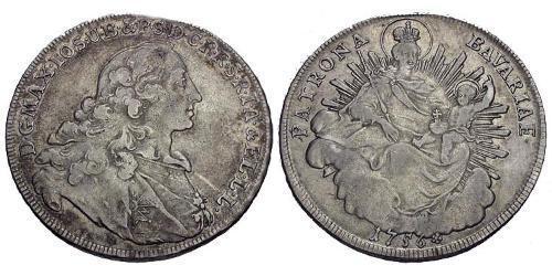 1 Thaler Alemania Plata Maximiliano III José, Elector de Baviera(1727 – 1777)
