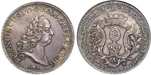 1 Thaler Augsburgo (1276 - 1803) Plata Francisco I del Sacro Imperio Romano Germánico(1708-1765)
