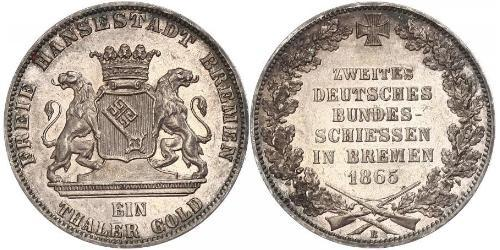 1 Thaler Bremen (estado) / States of Germany Plata