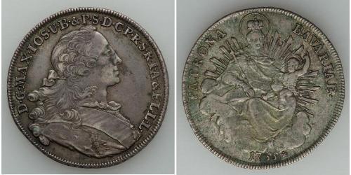1 Thaler Electorate of Bavaria (1623 - 1806) Plata Maximiliano III José, Elector de Baviera(1727 – 1777)