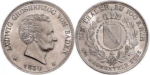 1 Thaler Gran Ducado de Baden (1806-1918) Plata Luis I de Baden(1763 - 1830)