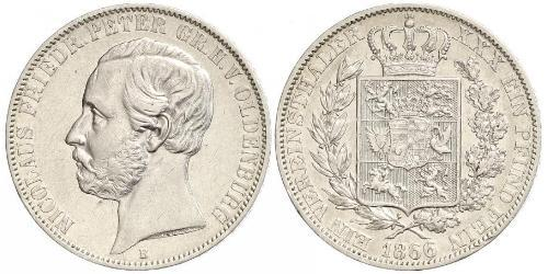 1 Thaler Grand Duchy of Oldenburg (1814 - 1918) Plata Pedro II de Oldenburgo (1827 - 1900)