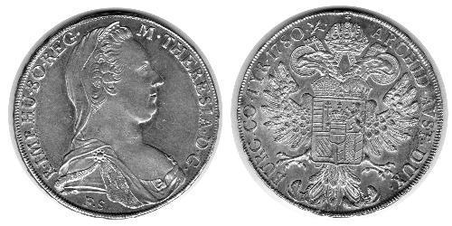 1 Thaler Habsburg Empire (1526-1804) Plata Maria Theresa of Austria (1717 - 1780)