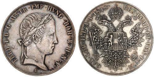 1 Thaler Imperio austríaco (1804-1867) Plata Ferdinand I of Austria (1793 - 1875)