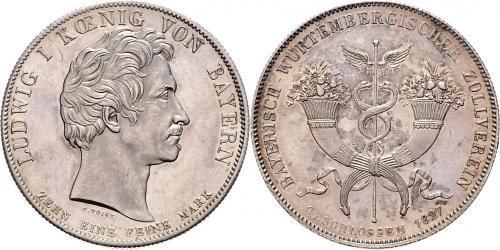 1 Thaler Reino de Baviera (1806 - 1918) Plata Luis I de Baviera(1786 – 1868)