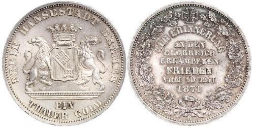 1 Thaler Freie Hansestadt Bremen Silber