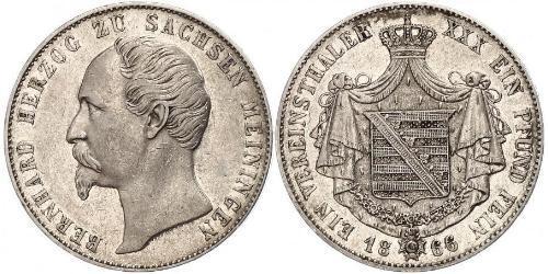 1 Thaler Herzogtum Sachsen-Meiningen (1680 - 1918) Silber Bernhard II. (Sachsen-Meiningen)