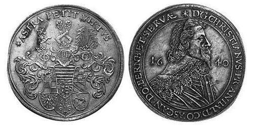 1 Thaler Anhalt-Bernburg (1603 - 1863) Silver Christian II, Prince of Anhalt-Bernburg (1599 – 1656)