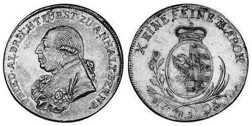 1 Thaler Anhalt-Bernburg (1603 - 1863) Silver Frederick Albert, Prince of Anhalt-Bernburg (1735 – 1796)