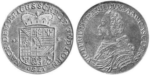 1 Thaler Anhalt-Bernburg (1603 - 1863) Silver Victor Frederick, Prince of Anhalt-Bernburg (1700 – 1765)