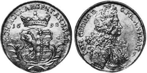 1 Thaler Anhalt-Dessau (1603 -1863) / Duchy of Anhalt (1806 - 1918) Silver John George II, Prince of Anhalt-Dessau (1627 – 1693)