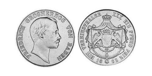 1 Thaler Grand Duchy of Baden (1806-1918) Silver Frederick I, Grand Duke of Baden (1826 - 1907)