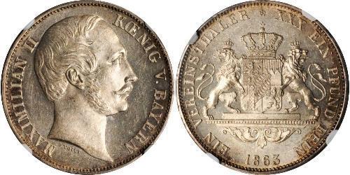 1 Thaler Kingdom of Bavaria (1806 - 1918) Silver Maximilian II of Bavaria (1811 - 1864)