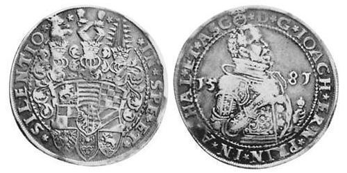1 Thaler Principality of Anhalt (1212 - 1806) Silver Joachim Ernest, Prince of Anhalt (1536 – 1586)