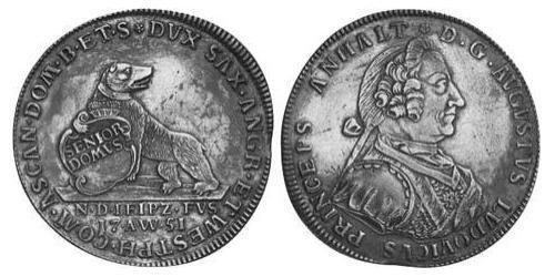 1 Thaler Principality of Anhalt-Köthen (1603 -1853) Silver Augustus Louis, Prince of Anhalt-Köthen (1697 – 1755)