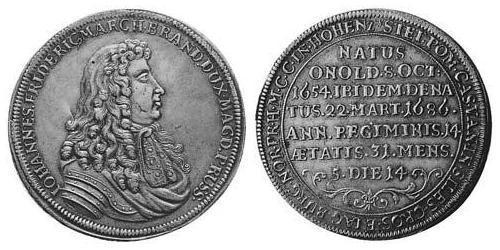 1 Thaler Principality of Ansbach (1398–1792) Silver John Frederick, Margrave of Brandenburg-Ansbach (1654 – 1686)