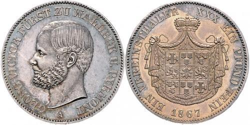 1 Thaler Waldeck (state) (1180 - 1918) Silver George Victor, Prince of Waldeck and Pyrmont (1831 - 1893)