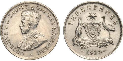1 Threepence 澳大利亚 銀 乔治五世  (1865-1936)