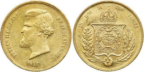 20000 Reis 巴西帝國 (1822 - 1889) 金 佩德罗二世 (巴西) (1825 - 1891)
