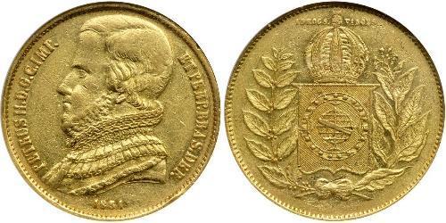 20000 Reis Empire of Brazil (1822-1889) Gold Pedro II of Brazil (1825 - 1891)
