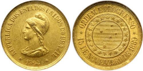 20000 Reis First Brazilian Republic (1889 - 1930) Gold