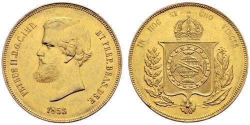 20000 Reis Empire du Brésil (1822-1889) Or Pierre II du Brésil (1825 - 1891)