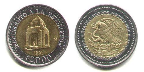 2000 Песо Соединённые Штаты Мексики (1867 - ) Биметалл