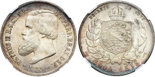 2000 Рейс Бразильська імперія (1822-1889) Срібло Педру II (імператор Бразилії) (1825 - 1891)