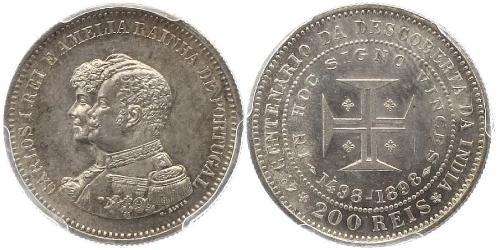 200 Рейс Королевство Португалия (1139-1910) Серебро Карлуш I король Португалии(1863-1908)