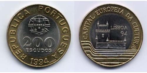 200 Эскудо Португальская Республика (1975 - ) Биметалл