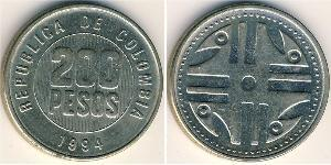 200 Peso Republic of Colombia (1886 - ) Zinc/Nickel/Copper