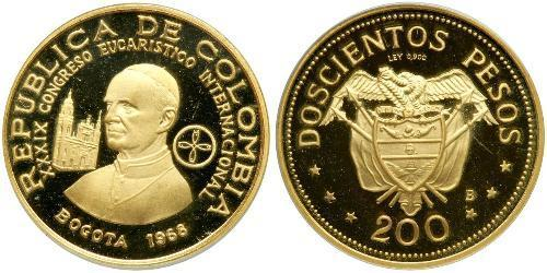 200 Peso Republik Kolumbien (1886 - ) Gold