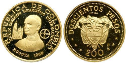 200 Peso Colombia (1886 - ) Oro