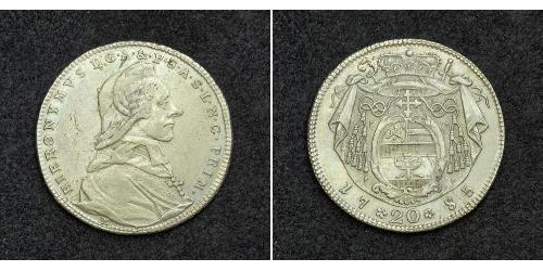 20 Крейцер Зальцбург Серебро Count Hieronymus von Colloredo (1732 - 1812)