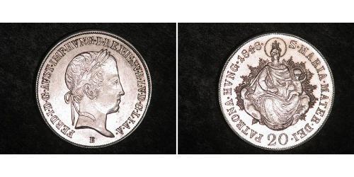 20 Крейцер Королевство Венгрия (1000-1918) Серебро Ferdinand I of Austria (1793 - 1875)