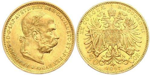 20 Крона Австро-Венгрия (1867-1918) Золото Франц Иосиф I (1830 - 1916)