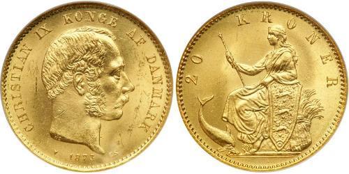 20 Крона Данія Золото Крістіан IX король Данії (1818-1906)