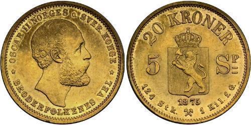 20 Крона Норвегия Золото Оскар II (1829-1907)
