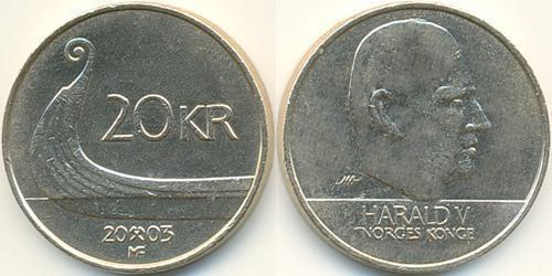 20 Крона Норвегия Латунь