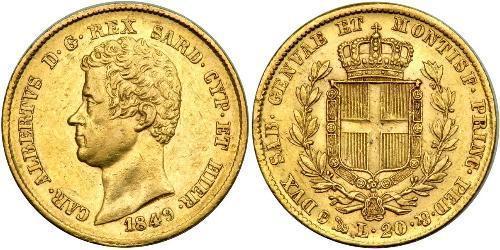 20 Ліра Сардинське королівство (1324 - 1861) / Італія Золото Карл Альберт (1798 - 1849)