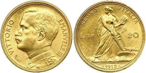 20 Ліра Kingdom of Italy (1861-1946) Золото Виктор Эммануил III (1869 - 1947)