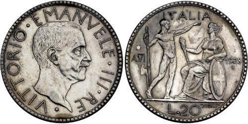20 Ліра Kingdom of Italy (1861-1946) Срібло Віктор Емануїл III (1869 - 1947)