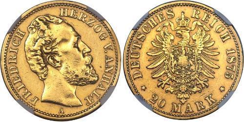 20 Марка Ангальт-Дессау (1603 -1863) Золото Frederick I, Duke of Anhalt (1831-1904)