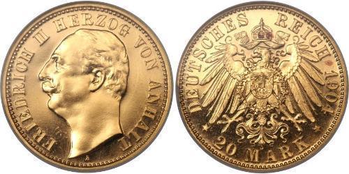 20 Марка Ангальт-Дессау (1603 -1863) Золото Фридрих II, герцог Ангальта(1856 – 1918)
