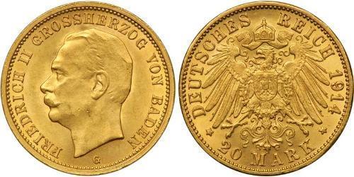 20 Марка Великое герцогство Баден (1806-1918) Золото Frederick II, Grand Duke of Baden (1857 - 1928)
